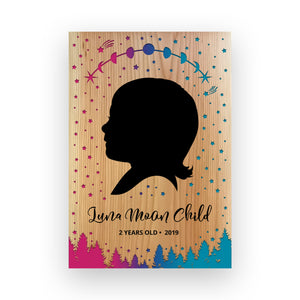 "9""x11"" Personalized Engraved Wood Child Silhouette - Luna Moon"