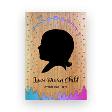 "Load image into Gallery viewer, 9""x11"" Personalized Engraved Wood Child Silhouette - Luna Moon"