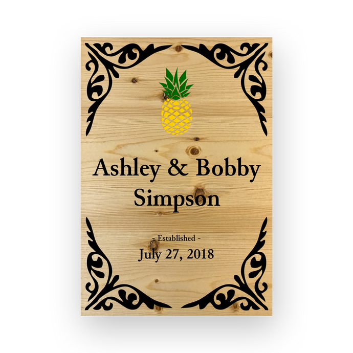 Pineapple Engraved Repurposed Wood Wedding Sign with Pine wood in black, green & yellow colors.