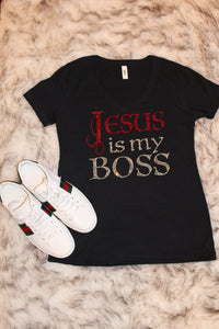 Jesus is My Boss Tee Shirt - Red