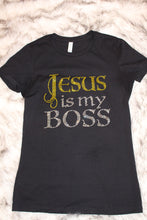 Load image into Gallery viewer, Jesus is My Boss Tee Shirt - Gold