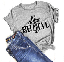 Load image into Gallery viewer, ABIDE - Believe Cross Tee Shirt