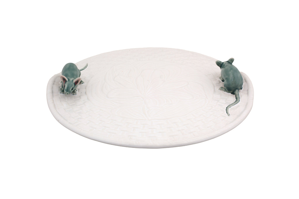 Cheese Platter Lily with Mice - White