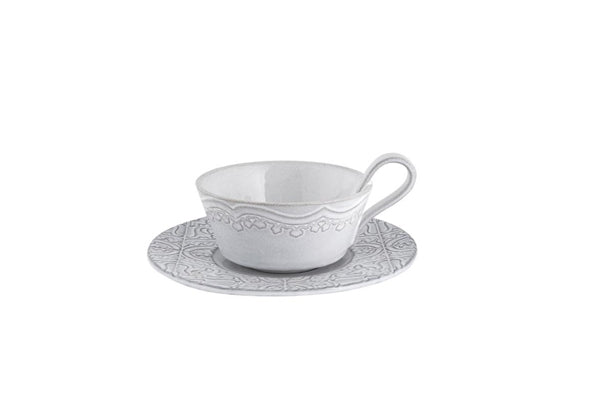 Rua Nova Tea Cup & Saucer - White Antique