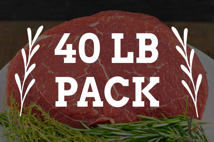 40 lbs pack of grass fed grass finished beef from arrowhead beef