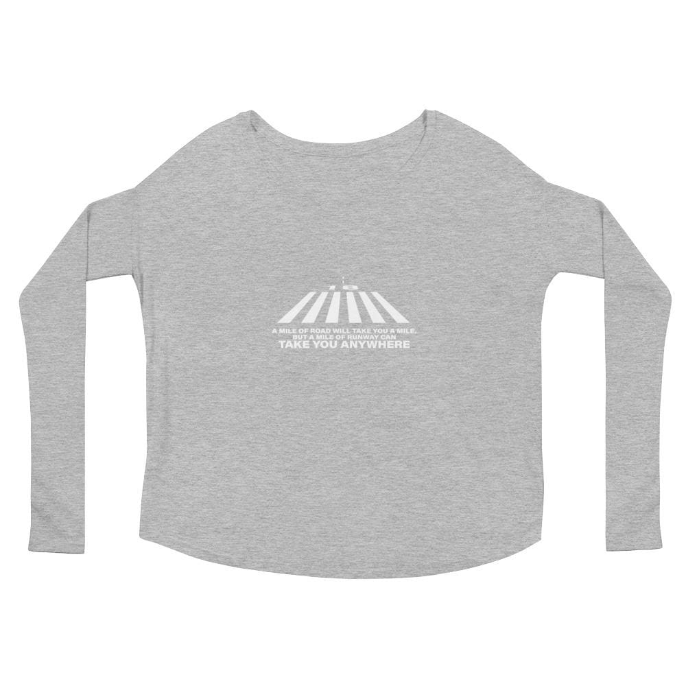 Ladies A Mile Of Runway Flowy Ls Tee - Athletic Heather / S