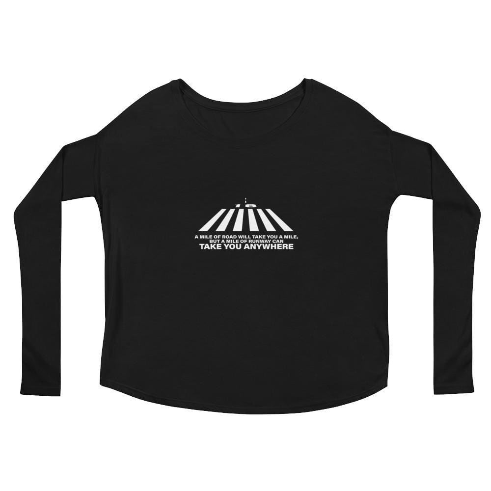 Ladies A Mile Of Runway Flowy Ls Tee - Black / S