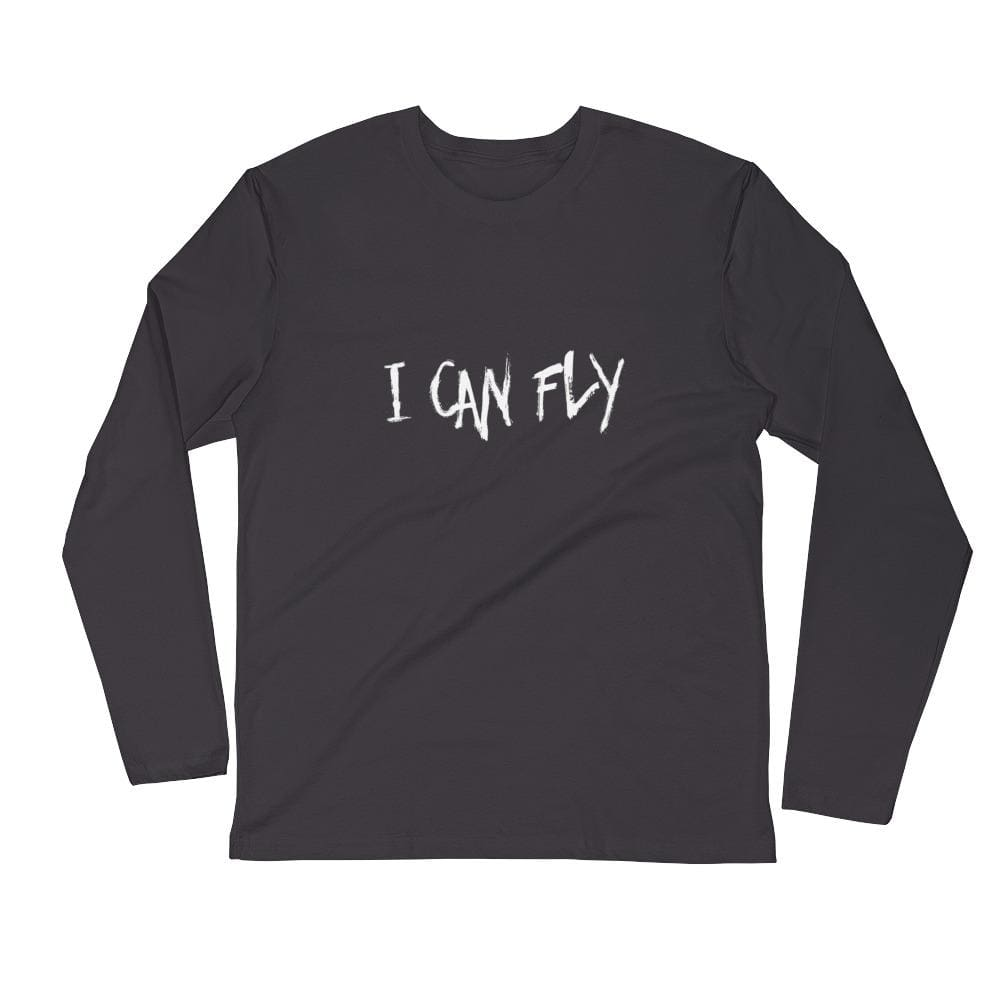 Mens Premium Fitted I Can Fly Ls - Heavy Metal / S