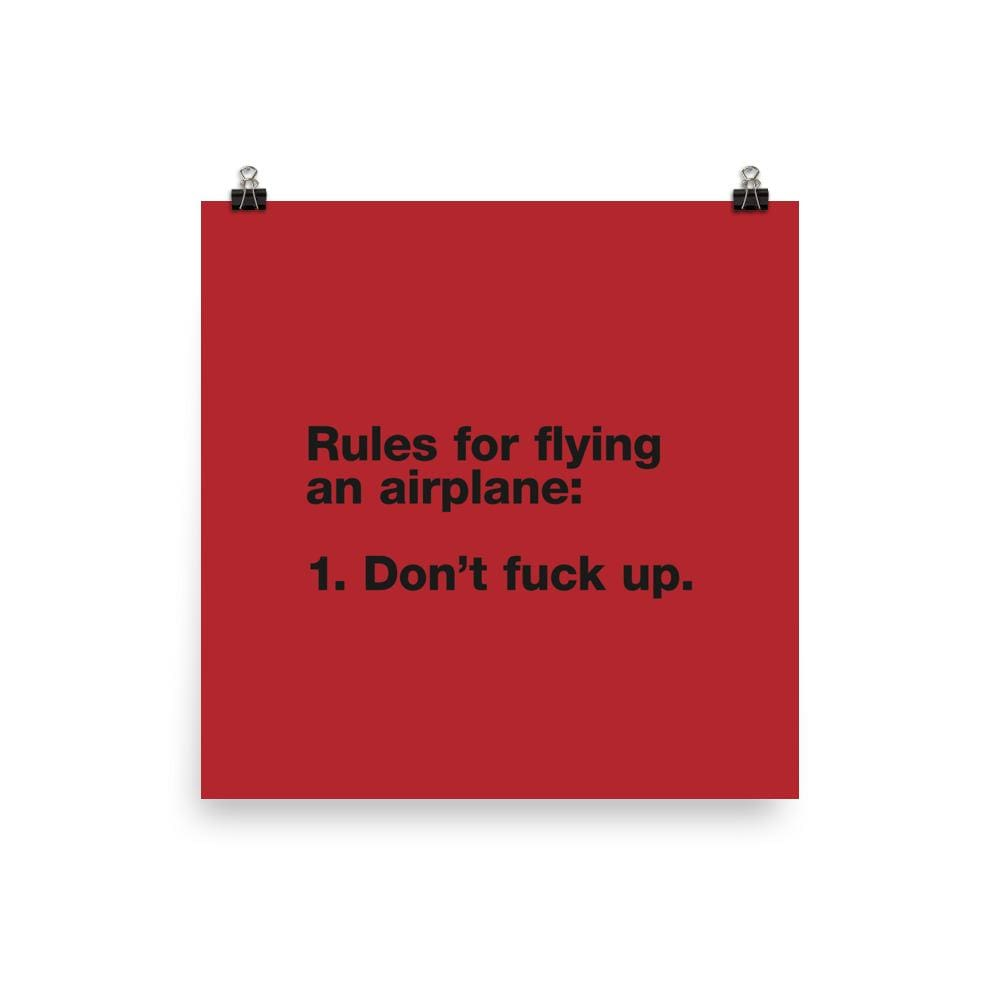 Rules For Flying - 18×18
