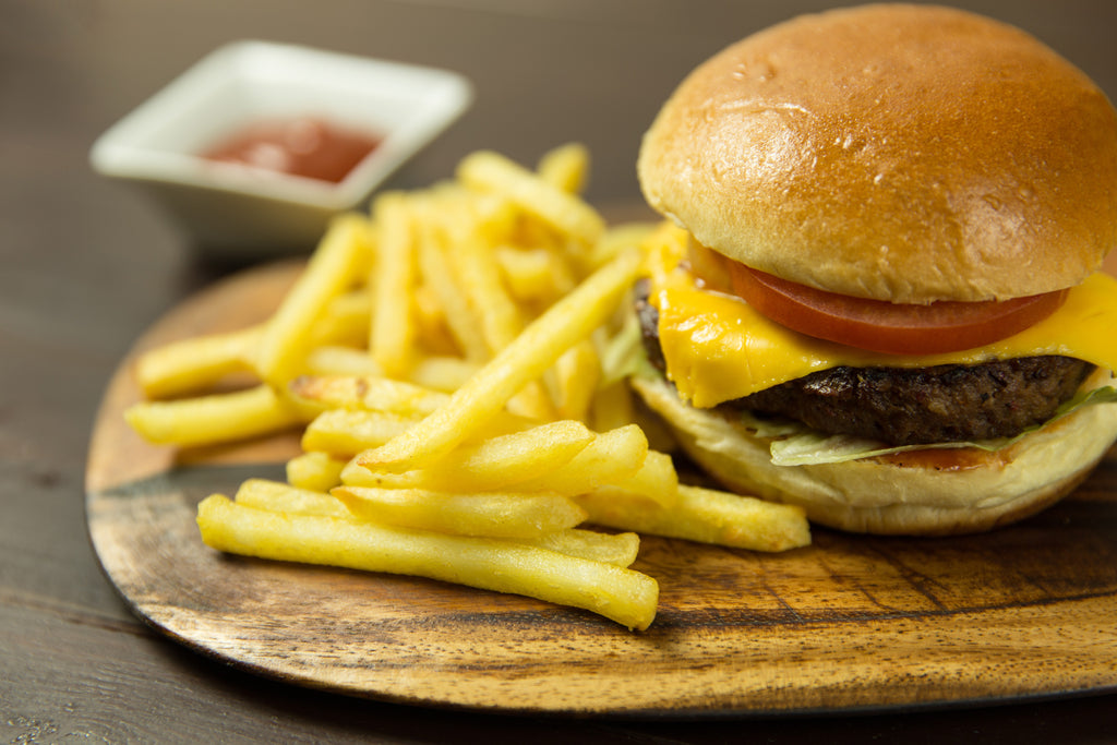 Fast food french fries and burger meal