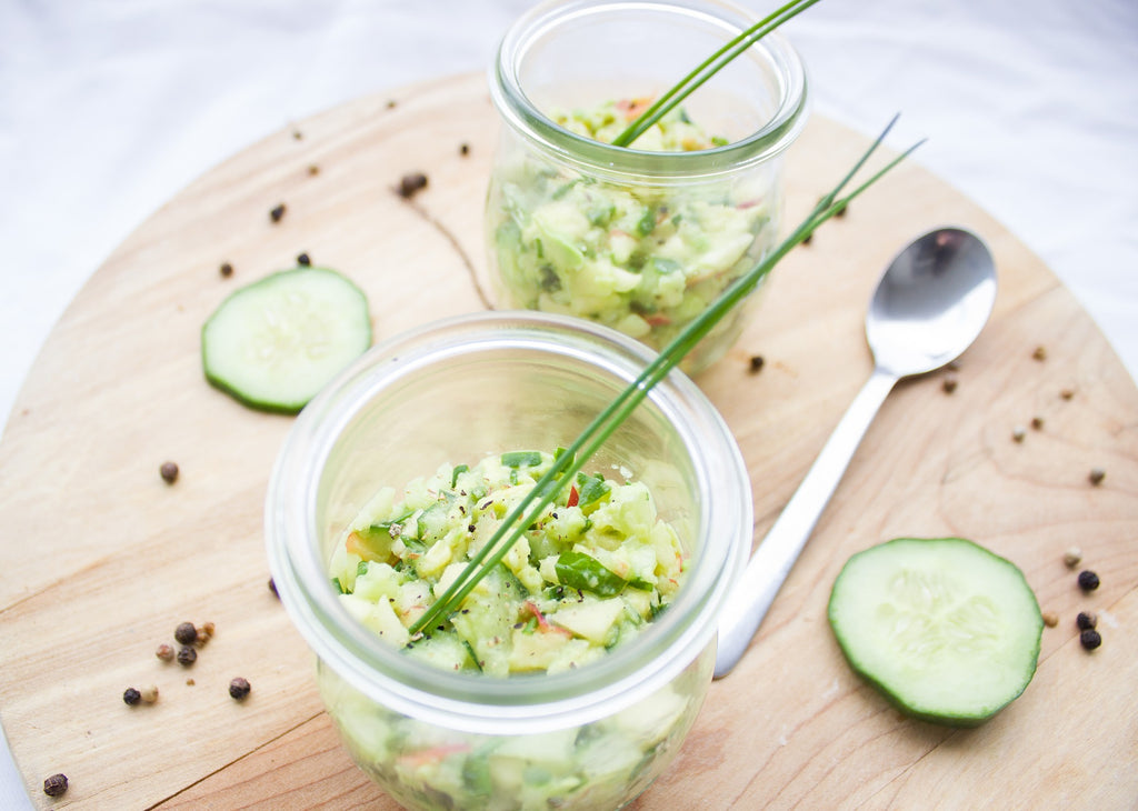 Cucumber with avocado and apple salad