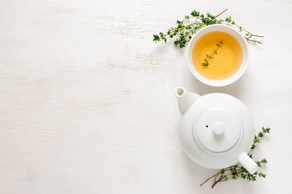 Green tea on white cup