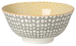"Danica 6"" Bowl Stamped Grey/Yellow Dots"
