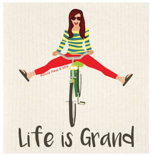 Life is Grand Bike Swedish Dishcloth