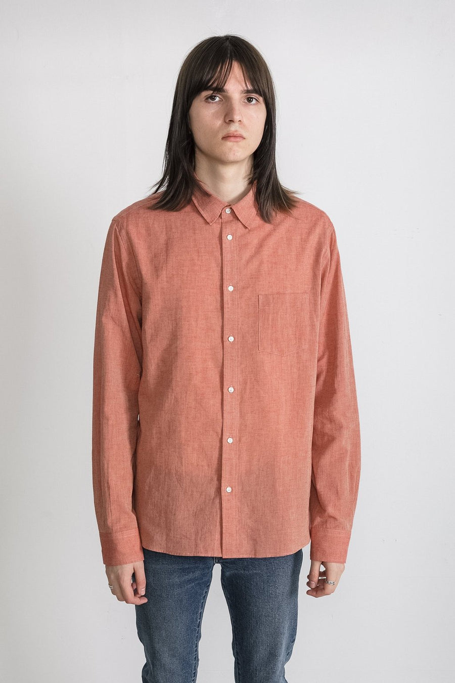 National Standards Natural Chambray Red