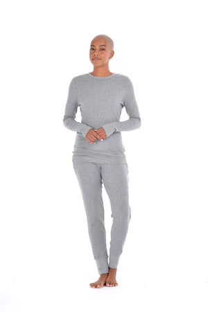 Paper Label Lisa Ribbed Long Sleeve Grey