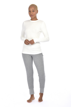 Paper Label Lisa Ribbed Long Sleeve White