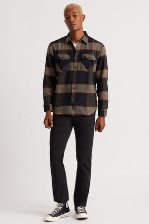 Brixton Bowery Flannel Heather Grey/Charcoal