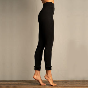Lemon Womens Faux Fur Lined Legging Black
