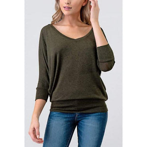 Natural Life Dolman Sleeve Top Olive