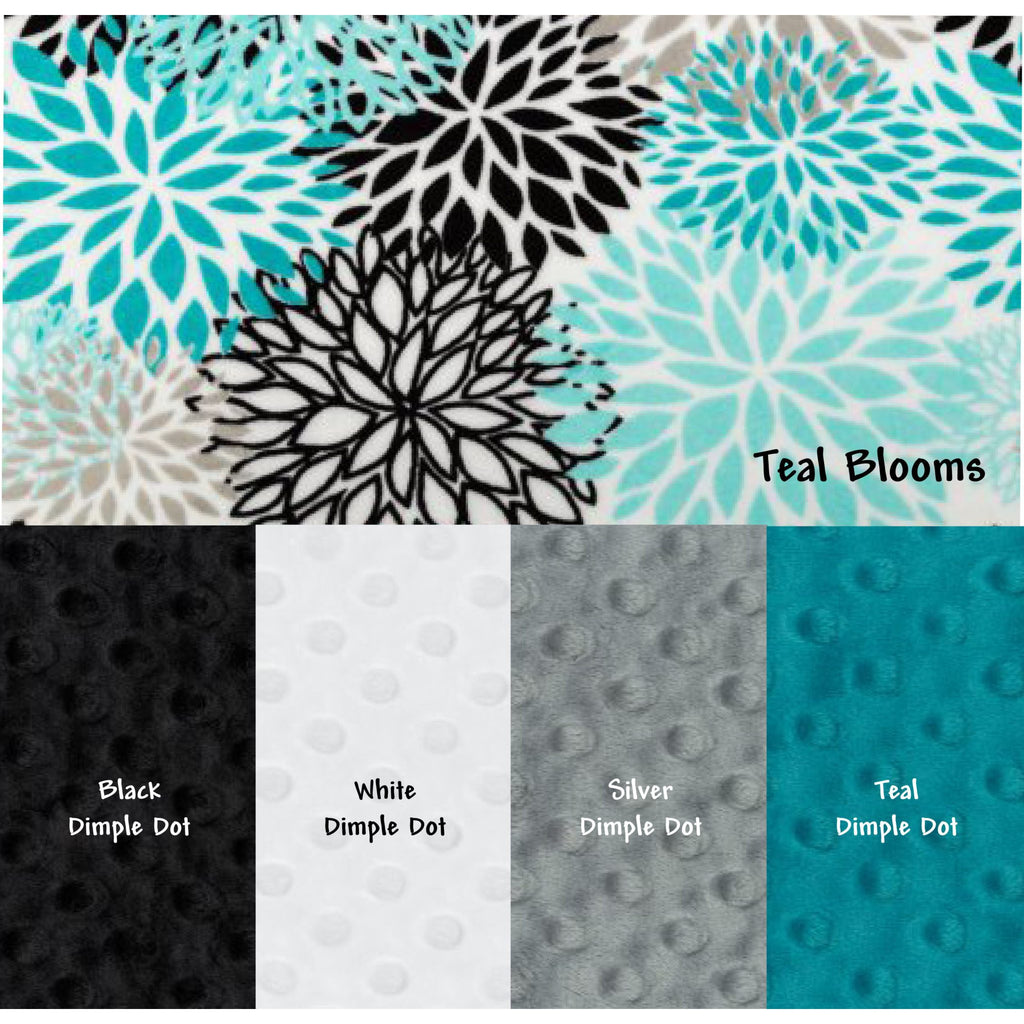 Minky Weighted Blanket 15-35 LBS Queen Teal Blooms