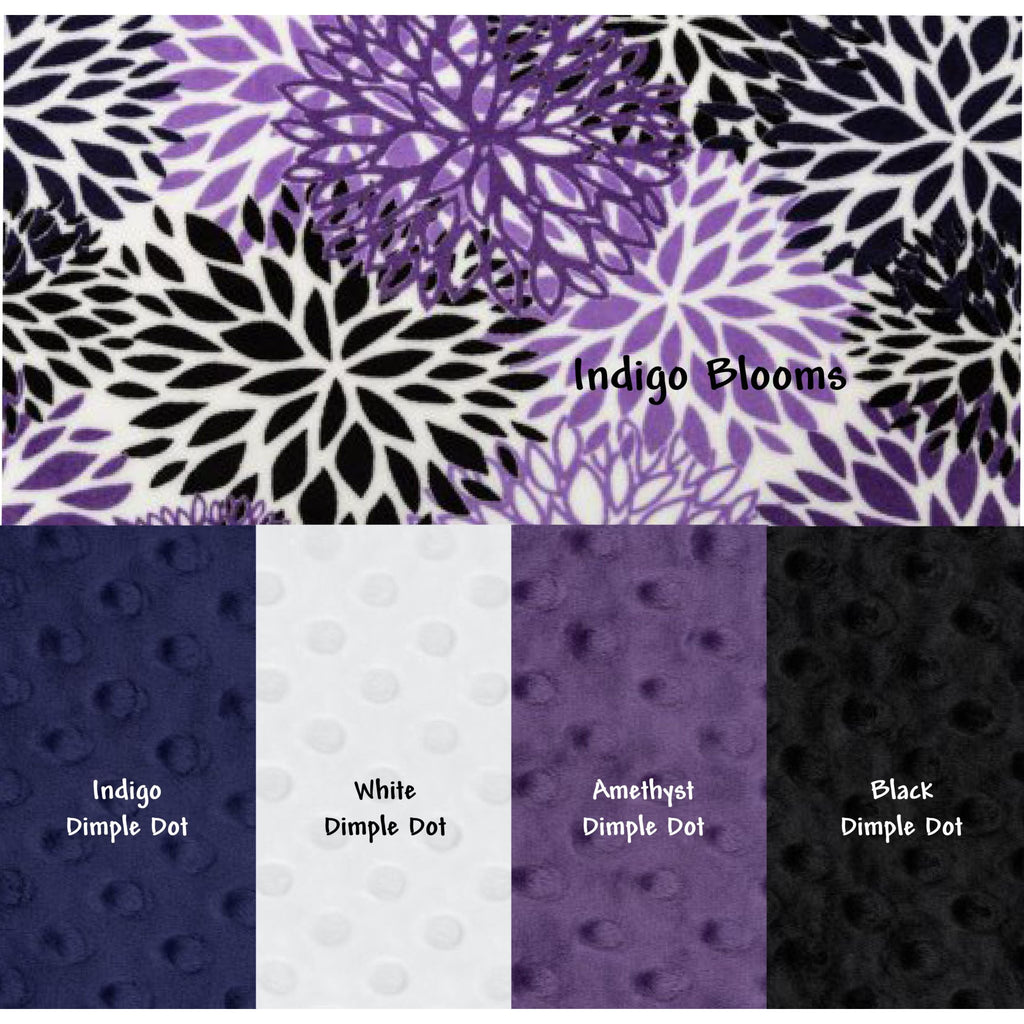 Minky Weighted Blanket 5-12 LBS Travel Size Indigo Blooms