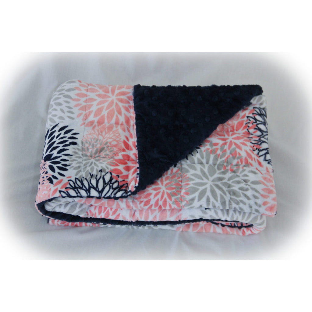 Minky Weighted Blanket 7-13 LBS Medium Youth Coral Blooms