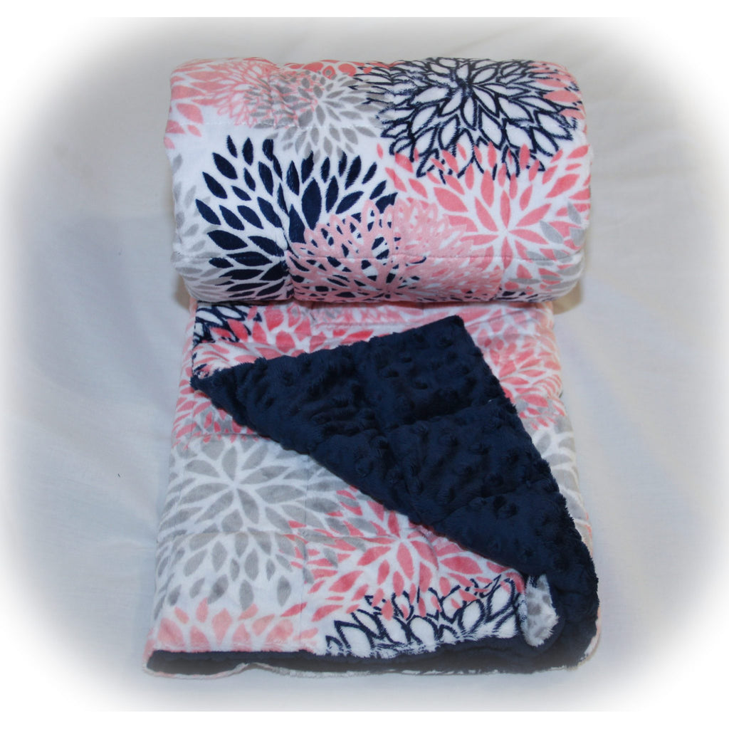 Minky Weighted Blanket 5-12 LBS Travel Size Coral Blooms