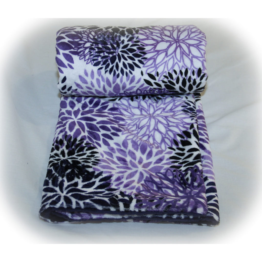 Minky Weighted Blanket 15-35 LBS Queen Indigo Blooms