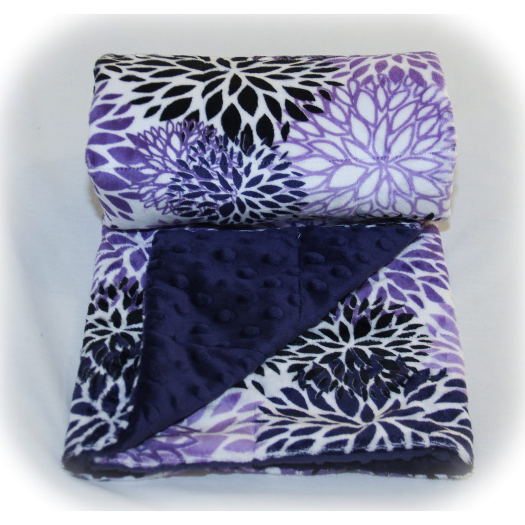 Minky Weighted Blanket 5-12 LBS Small Youth Indigo Blooms