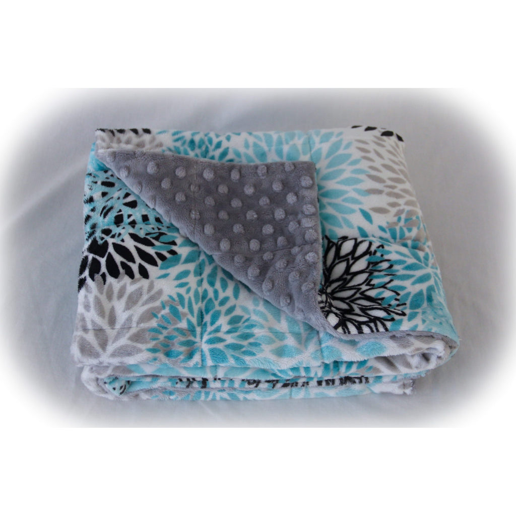 Minky Weighted Blanket 2-6 LBS X-Small Youth Teal Blooms