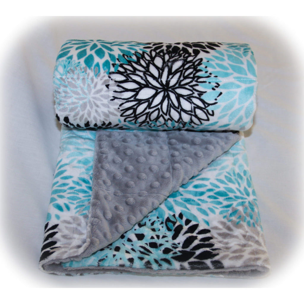 Minky Weighted Blanket 15-28 LBS Full Teal Blooms