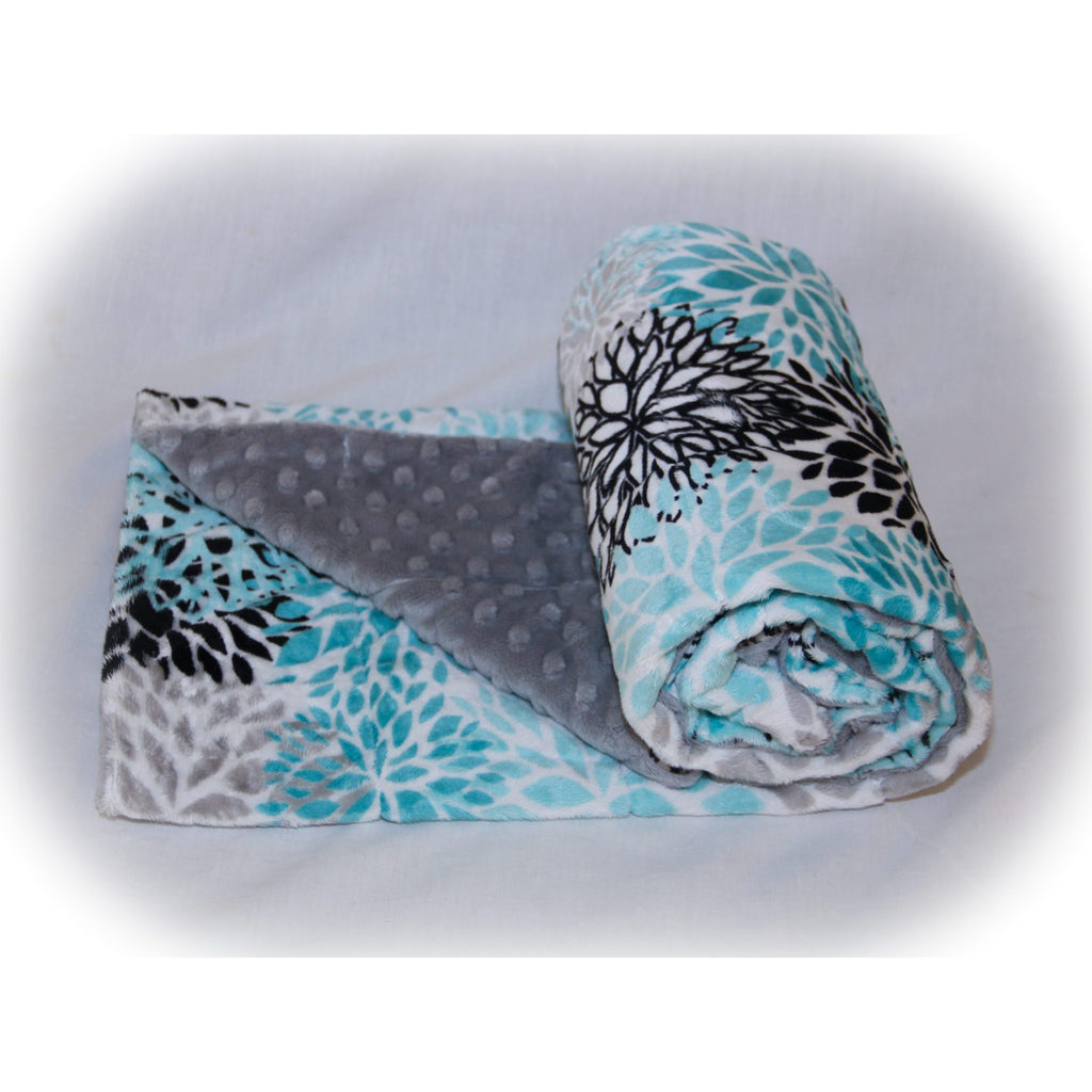 Minky Weighted Blanket 7-13 LBS Medium Youth Teal Blooms