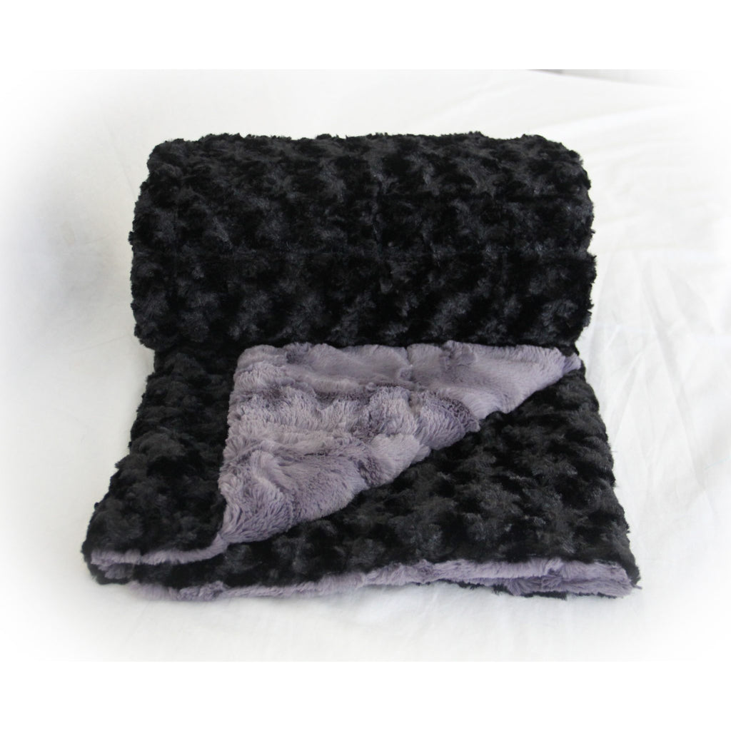 Minky Weighted Blanket 15-35 LBS Queen Black