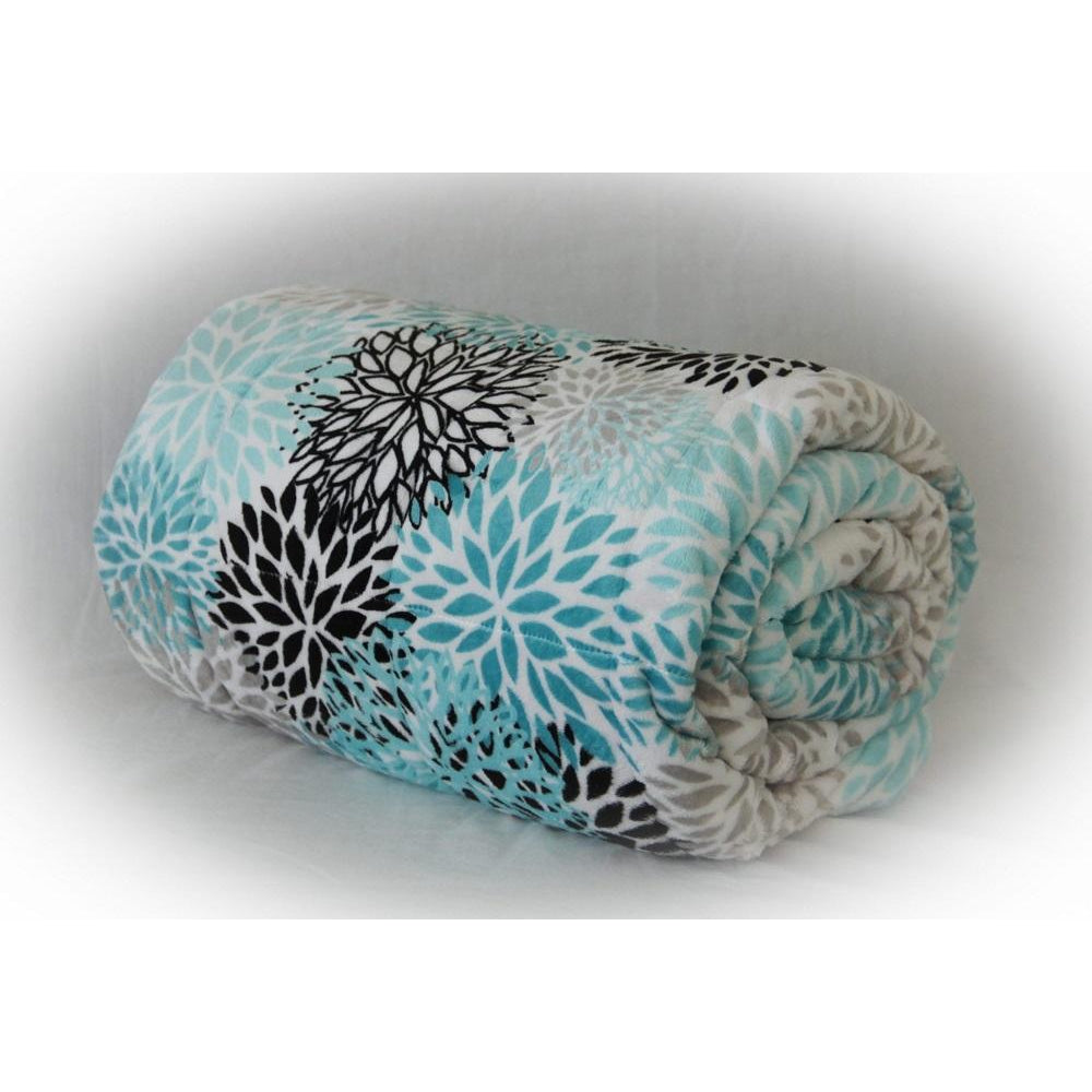 Minky Weighted Blanket 5-12 LBS Travel Size Teal Blooms