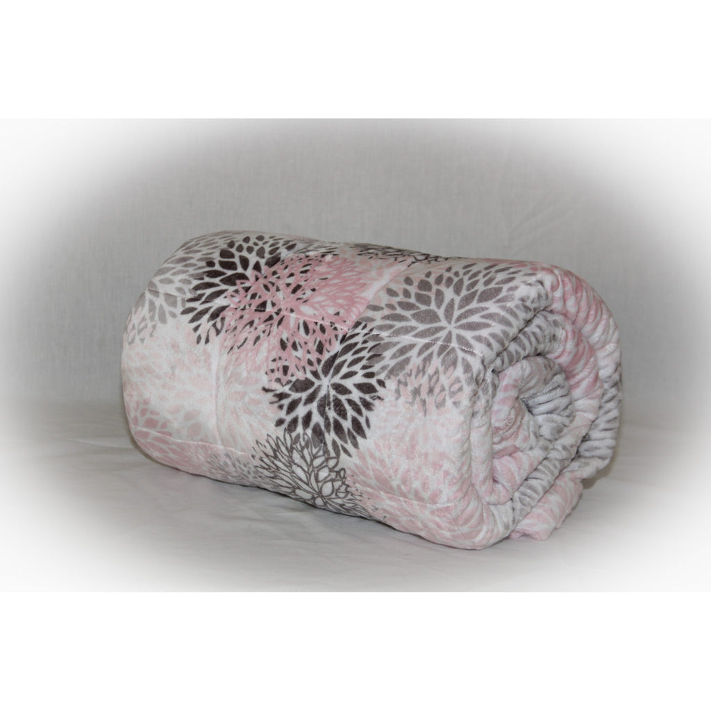 Minky Weighted Blanket 8-25 LBS Twin Blush Blooms