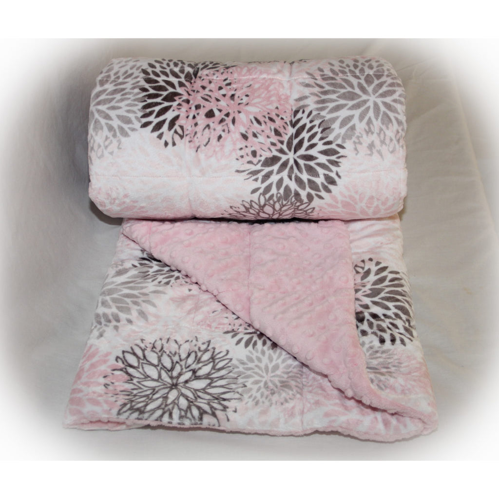 Minky Weighted Blanket 5-12 LBS Travel Size Blush Blooms
