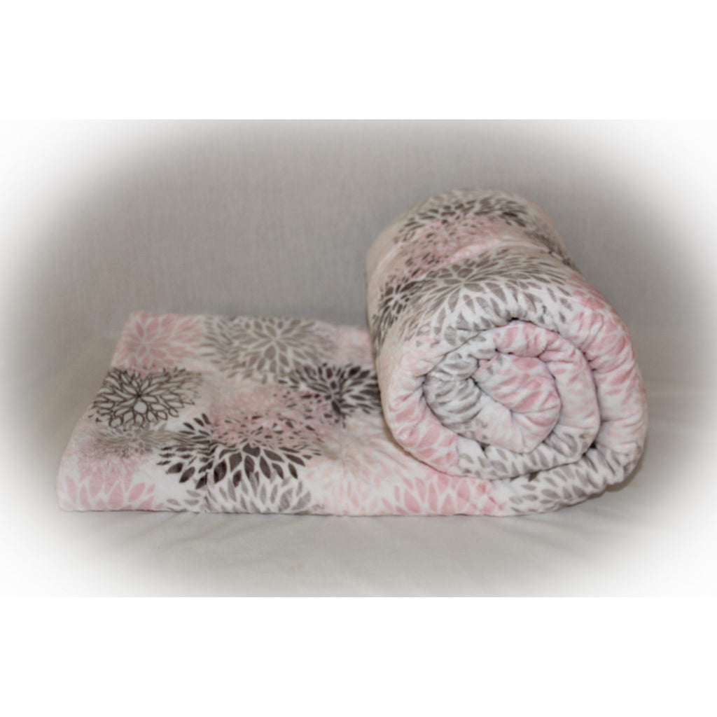 Minky Weighted Blanket 15-25 LBS XL Twin Blush Blooms