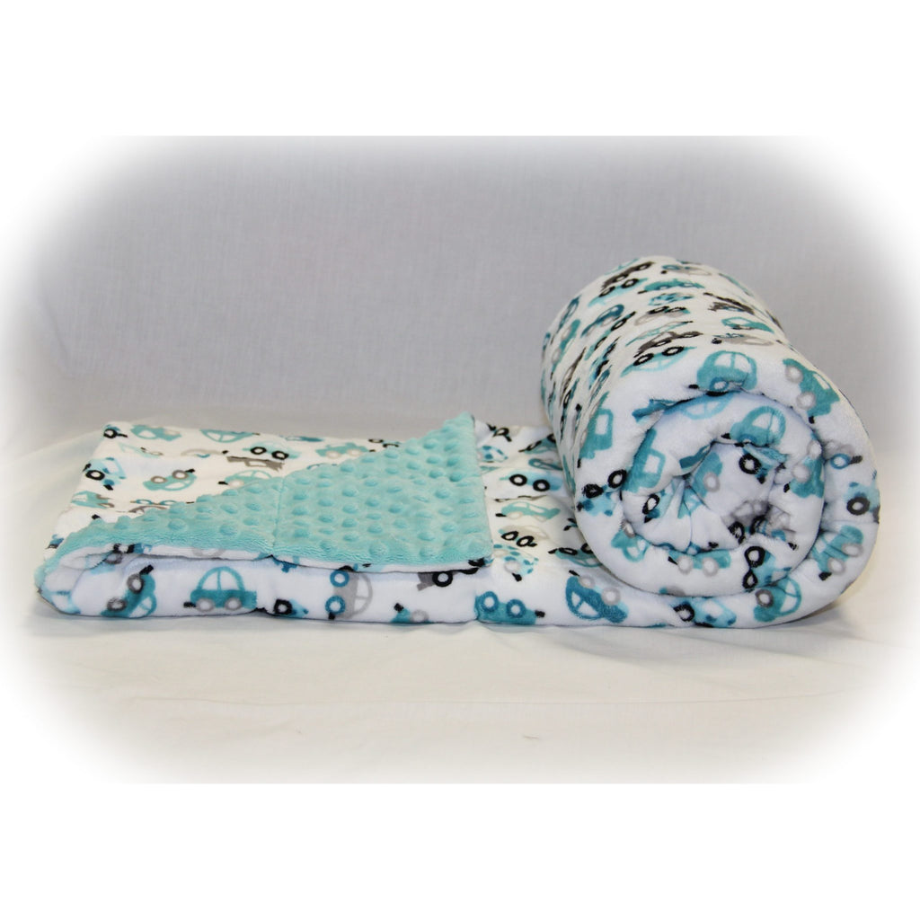 Minky Weighted Blanket 5-12 LBS Small Youth Cute Cars