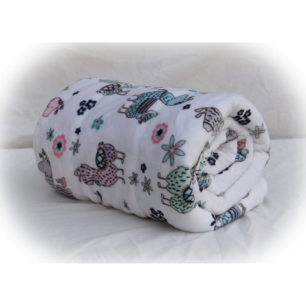 Minky Weighted Blanket 7-13 LBS Medium Youth No Prob Llama