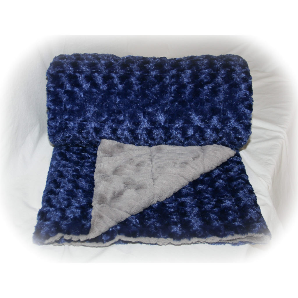 Minky Weighted Blanket 8-18 LBS Large Youth Midnight Blue