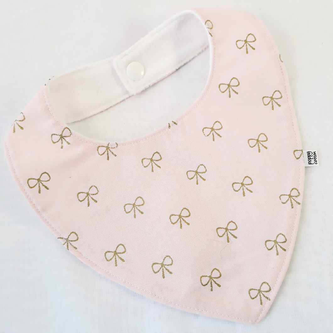 Cotton Baby Bib - Pink with Bows