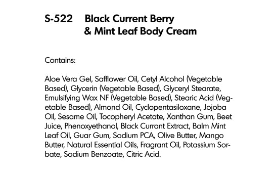 BLACK CURRANT BERRY AND MINT LEAF BODY CREAM (S-522)