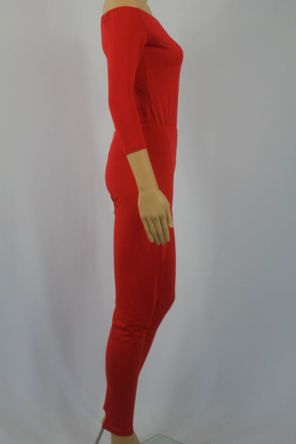 Conspicuous Pure Red Half Sleeve Woman Jumpsuit 18585