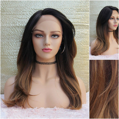 Long Brown Lace Front Wig, Wavy Deep Curls, Heat resistant, For everyday use