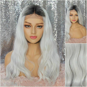 Icy White Lace Front Wig, Wavy Wig with Dark Roots, Heat Resistant Wig, Natural Wig, Cosplay Wig