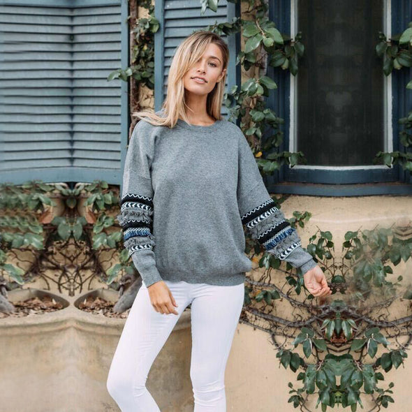 O-Neck Plain Sweat Shirt with Detailed Sleeves