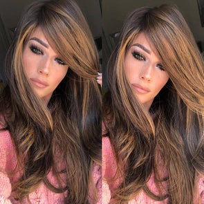 2019Medium long curly brown wig