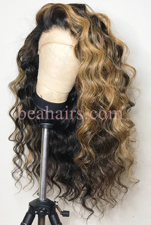 Human Wigs African American Less Wig Hand Tied Human Hair Wigs Closure Weave Middle Part Honey Blonde Lace Wig Yellow Lace Wig
