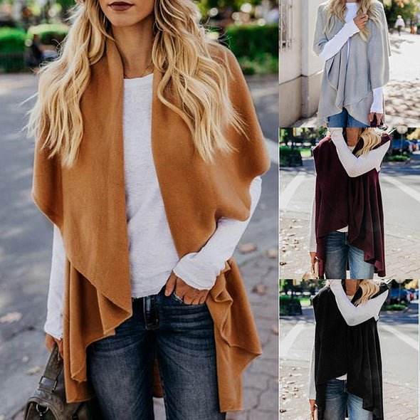Wide Colllar Sleeveless Irregular Coat